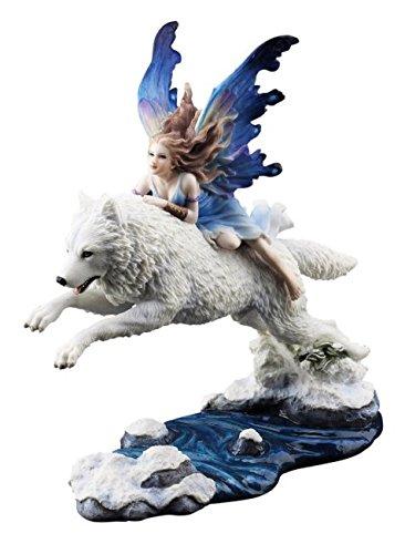 Schmetterlings Elfe reitet auf Wolf - Free Spirit - Deko Figur Fantasy