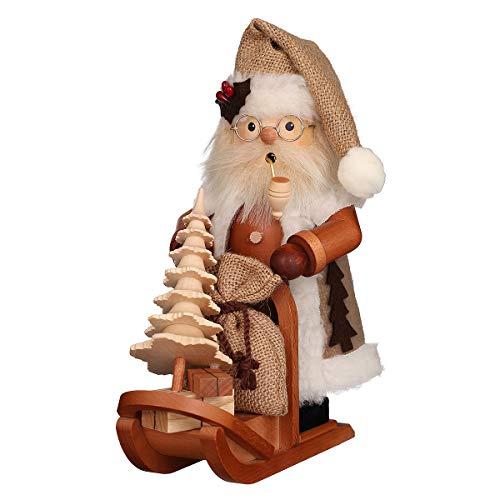 Räuchermännchen Weihnachtsmann mit Schlitten - 28,0 cm - Original Erzgebirge Räuchermann -...