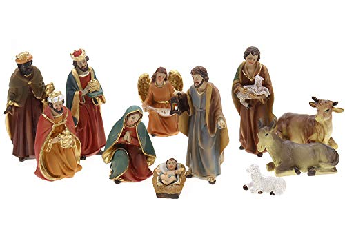 Unbekannt Krippenfiguren Set 11tlg bis 10,5cm Höhe, aus Polyresin, Heilige Familie, Heilige 3...