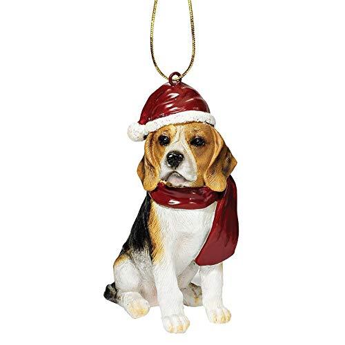 Design Toscano Beagle Festlicher Hund Weihnachtsbaumornament Weihnachtsdeko, Polyresin, vollfarbe, 8...