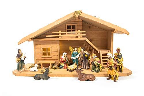 mgc24 Weihnachtskrippe Tischkrippe aus Holz, komplett mit 11 Krippenfiguren handbemalt,...