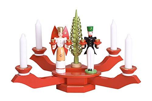 Kerzenhalter Tischleuchter rot mit Engel und Bergmann BxT = 38x38cm NEU Kerze Kerzenleuchter...