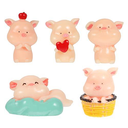 BESPORTBLE 5Pcs Miniatur Schwein Figuren Tierfiguren Spielzeug Glück Schweinchen Kuchen Topper Harz...