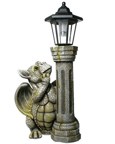 Kremers Schatzkiste Drachenkind mit Solar Laterne Drache Figur Gargoyle Gartenfigur mit Solarlaterne