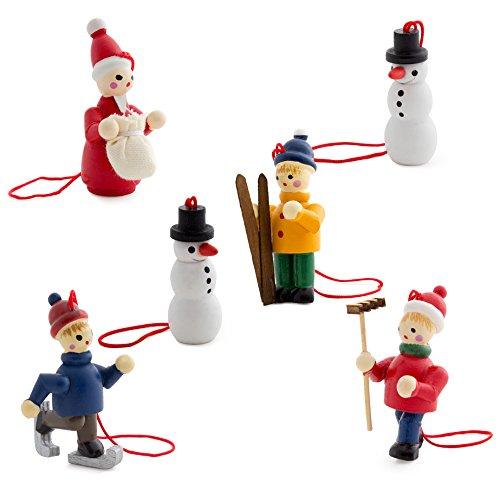 Brubaker 6-teiliges Set Christbaum Anhänger Weiße Weihnachten - Natürlicher Holz-Baumschmuck...