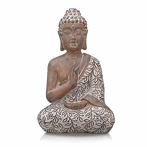 TERESA'S COLLECTIONS Buddha Figur, 36.5cm Harz sitzende Budda Dekofigur für Haus, Büro, Garten,...