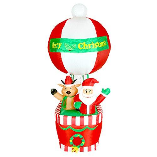Pridea 210cm Heissluft Fessel Ballon mit Weihnachtsmann und Rentier selbstaufblasend Airblown