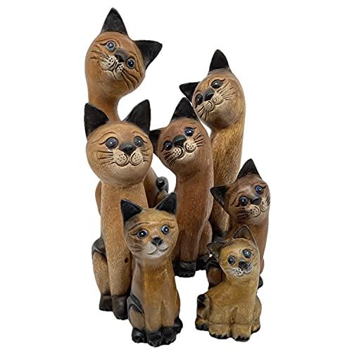 Thaifully Holz Katze stehend quer, Hochwertige Deko-Figur aus Massivholz, Holzfigur geschnitzt,...