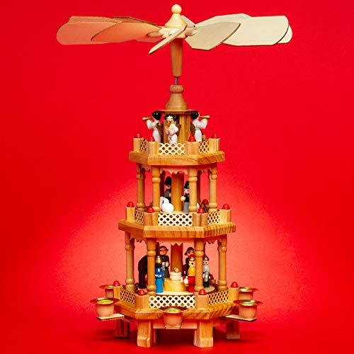 SIKORA P34 Klassische Holz Weihnachtspyramide mit 3 Etagen