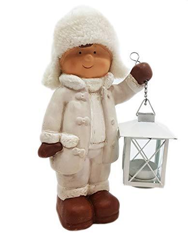 Wichtelstube-Kollektion XL Deko Figur Winterkinder Junge Weihnachtsfigur 28cm Keramikfigur...