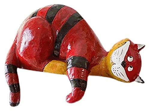 WQQLQX Statue Harz Faule Katze Skulptur Rot und Schwarz Gestreifte Katze Statue Handwerk Modell...