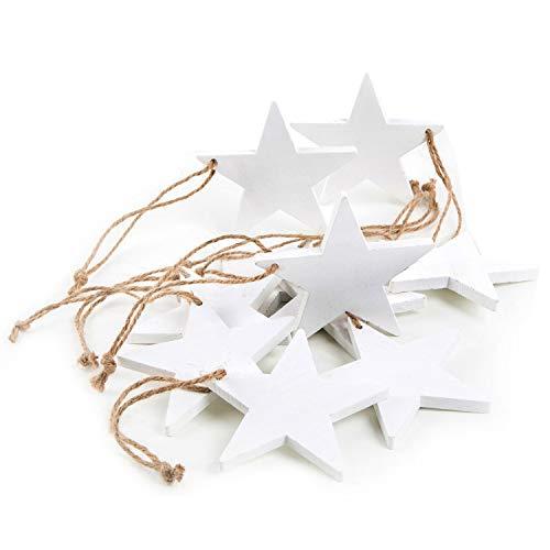 10 Stück weiße Holz-STERNE shabby chic vintage Weihnachts-ANHÄNGER ohne gemessen 7 cm als...
