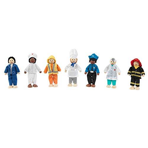KidKraft 63279 7-köpfige Set Berufe aus Holz – 12cm große Puppen für jedes Puppenhaus...