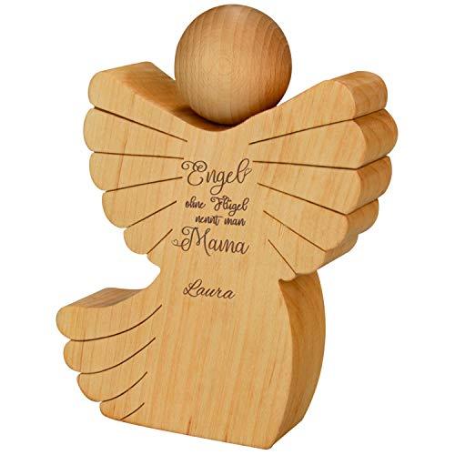 Geschenke 24 Holz Engel mit Gravur (mit Name) - Holzfigur für Mütter mit Spruch - personalisierte...