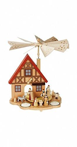 Weihnachtspyramide Tischpyramide Erzgebirge Richard Glässer Seiffen Hauspyramide Christi Geburt,...