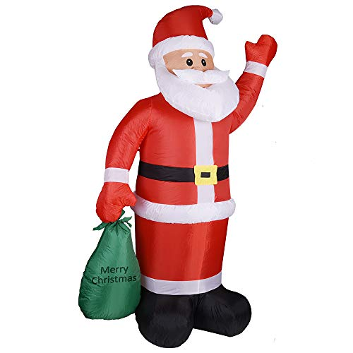 Monzana Aufblasbarer Weihnachtsmann XL 180cm LED Beleuchtet Befestigungsmaterial Weihnachtsdeko...
