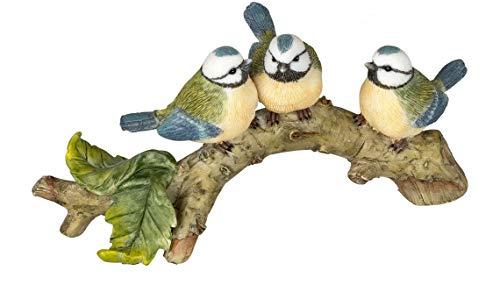 dekojohnson Deko-Vogel auf einem AST Frühlingsdeko Sommerdeko Gartenfigur Blaumeise Miniatur...