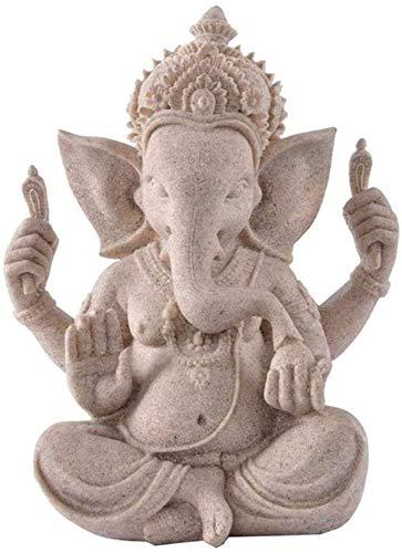 YANRUI Elefant Skulptur Buddha Statue Ganesha Statue Feng Shui Sandstein Handgemachte Schmuckschmuck...