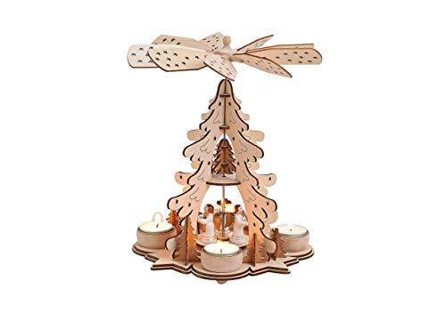 itsisa Weihnachtspyramide aus Holz mit Engeln - Holzpyramide Weihnachtsdeko, Adventsdeko