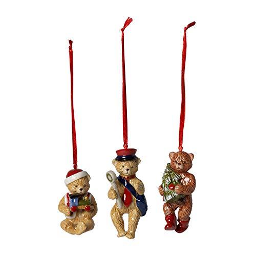 Villeroy & Boch Nostalgic Ornaments Baumschmuck 'Teddy', 3er Set, Porzellan, Bunt