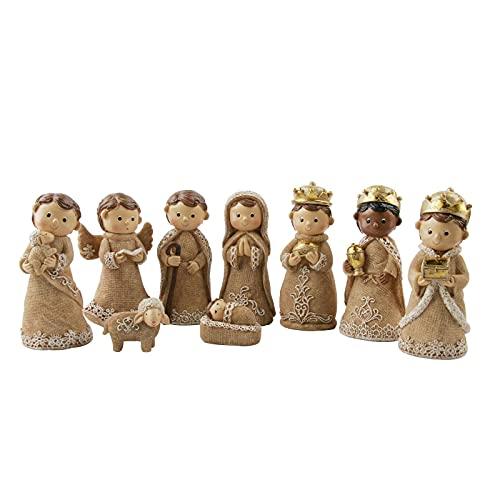 HALUWY Christus Jesus Weihnachtskrippe, 9 Krippenfiguren-Set Statue, Harz Handwerk Cartoon Charakter...