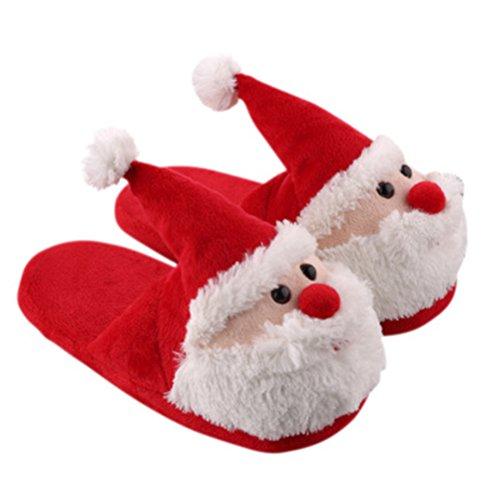 Fenical Weihnachten Hausschuhe Plüsch Weihnachtsmann Figur Winter Warm Pantoffeln Kinder Erwachsene...