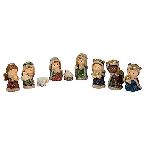 QLPXY 9 Stück Weihnachtskrippe Set, Krippenset Figuren Bewegliches Figuren Set Weihnachtskrippe...