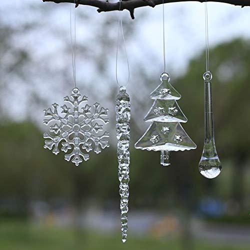 HERZWILD christbaumschuck 40 pcs Weihnachtsbaum Anhänger eiszapfen Schneeflocken Weihnachtsbaum...