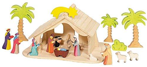 Holztiger Puppenhaus mit Weihnachtsstern (ohne Figuren, ohne Bäume)