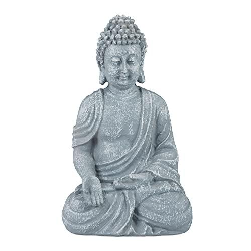 Relaxdays, hellgrau Buddha Figur sitzend, 30 cm, Gartenfigur, Dekofigur Wohnzimmer, Polyresin,...
