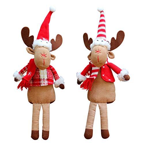 Amosfun 2 Stück Weihnachts-Plüsch-Spielzeug Ornament sitzender Elch Figur Puppe Tisch Kamin...
