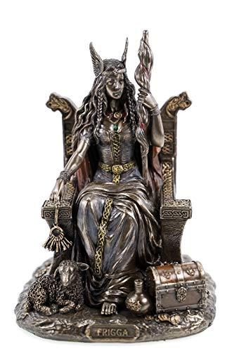 Veronese 708-7432 Germanische Göttin Frigga Frau Odins auf Thron Frigg Odin bronziert Figur