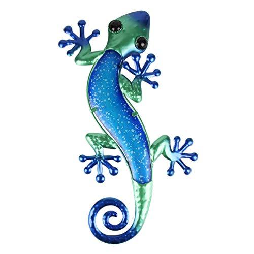 Hemoton Eisen Eidechse Deko Figur Gecko Gartendeko Tiere Metall Wanddeko Gartenfigur Garten...
