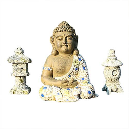 MAIGOIN Tiefes Kunsthandwerk Buddha Figur aus Stein sitzend in Schiefer, Statue frostsicher und...