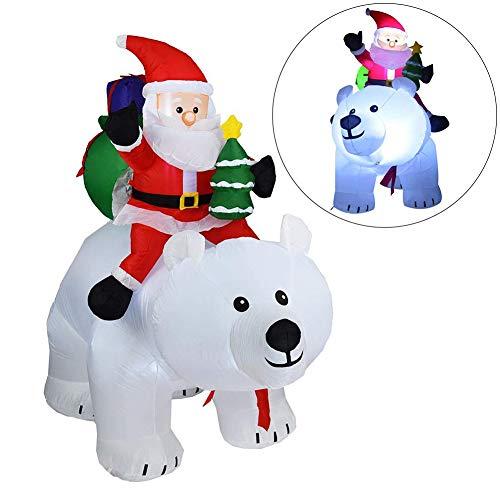 CSPone 170x210cm Weihnachtsmann reitet einen Eisbären, Leuchtende weihnachtsdekoration aufblasbar...