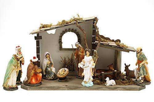 Creation Gross Holz Krippenstall, Weihnachtskrippe 45 * 18 * 25cm (MIT Krippenfiguren)