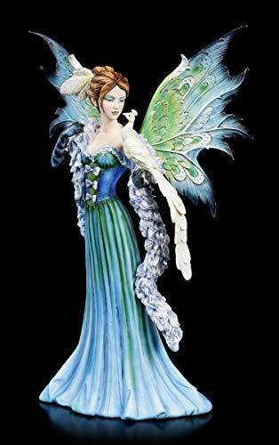 Fantasy Elfen Figur - Pavora mit weißem Pfau | Feen-Figur, handbemalt, mit Flügel zum Stecken