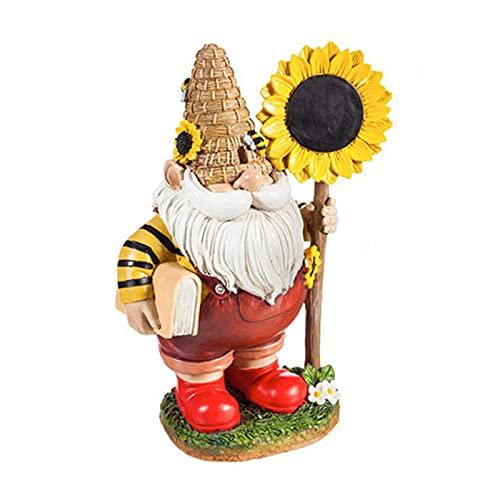 N\B Sonnenblume Biene Zwerg Statue, Gartenskulptur Dekoration aus Harzmaterial, geeignet für...