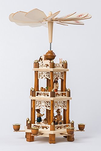 Pyramide Für 6 Pyramidenkerzen 'Waldweihnacht' 19×16,5×43,5cm NEU Teelichtpyramide...