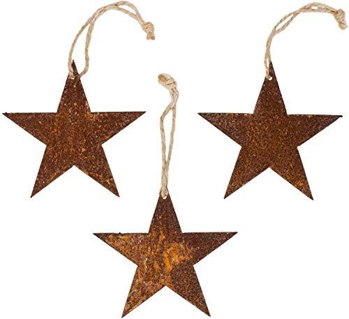B2S BACK2SEASON Metall Sterne zum Hängen 3er Set Edelrost Weihnachtsdeko Baumdeko Gartenhänger 3...