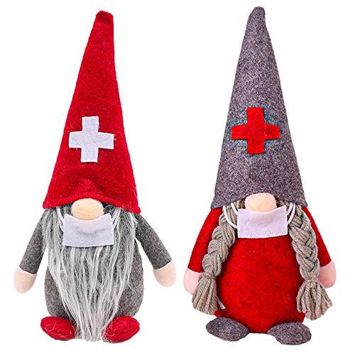 2 Stück Weihnachts-Zwerge, Dekoration, handgefertigt, skandinavischer Zwerg Tomte, Plüschpuppe,...