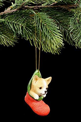 Christbaum Schmuck Hunde Figur | Chihuahua Welpe im Strumpf | Weihnachtsbaum Anhänger Deko Kugel