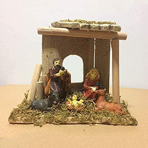 LYTBJ Exquisite 5 Stück Miniatur Exquisite Weihnachtskrippe Set in der Krippe Chalet Figur...