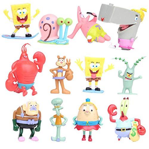 12 Stück Anime PVC Modelle Bob Schwämme Patrick Figuren Star Action Figur Nettes Auto Home...