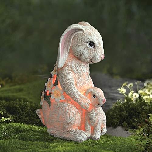 LA JOLIE MUSE Gartenfigur - Mutter & Baby Kaninchen mit Solar LED-Lichtern für draußen und...
