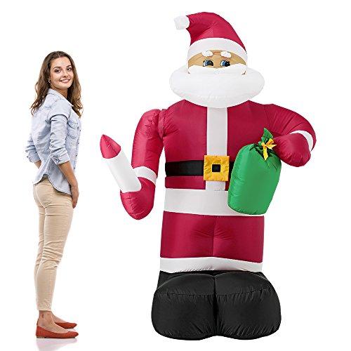 [en.casa] Riesiger Weihnachtsmann 193 cm mit beweglichem Arm und LED Beleuchtung Weihnachten...