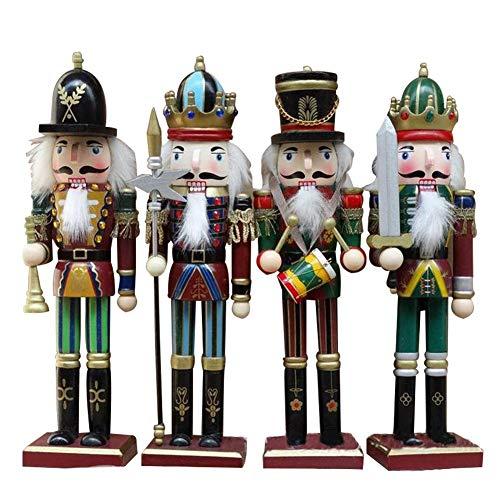 lingzhuo-shop 4 Stücke Nussknacker Soldat Figuren Puppen Holz Puppe Figur Festliche Weihnachts Deko...