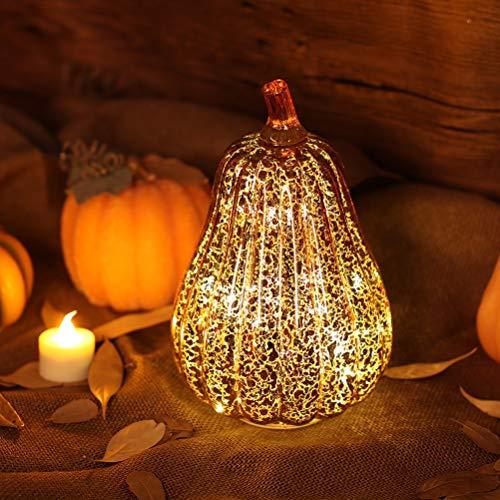DNGF Urlaub Dekoration Glas Kürbis Licht Led Glowing Delicate Halloween Dekorative Lampe Party...