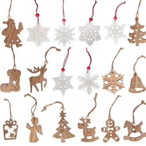 jenich 24 Stück Weihnachten Holzanhänger Weihnachtsanhänger Schneeflocken Weihnachtsbaum...