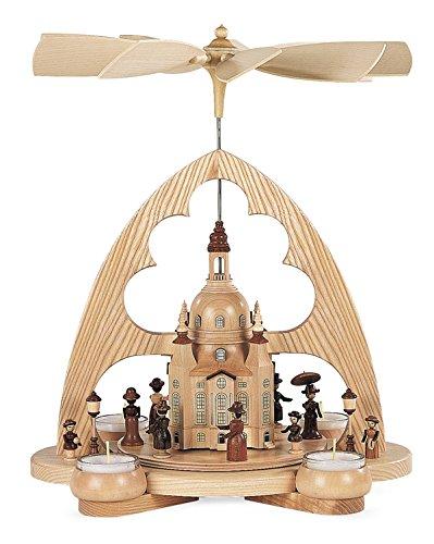 Teelichtpyramide Tischpyramide Frauenkirche 1-stöckig natur mit Teelichter (LxBxH):29x22x36cm NEU...